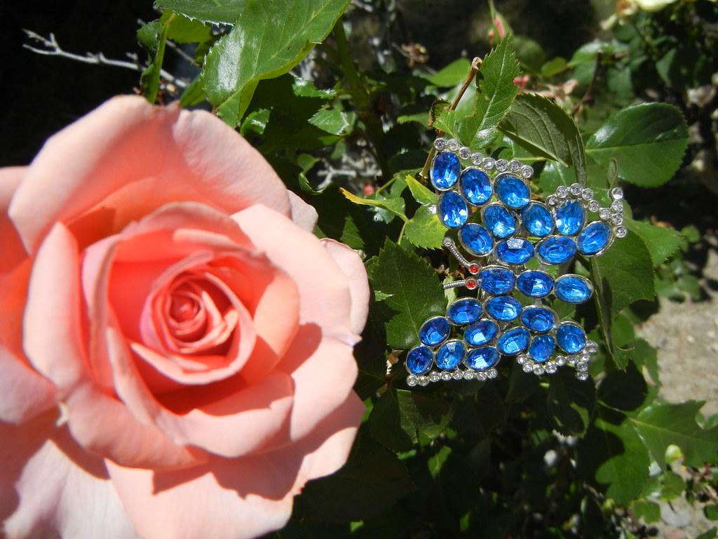 Vintage Blue Butterfly Rhinestone Hair Clip