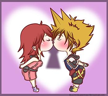Sora and Kairi Chibi Kisses / By Beastwithadditude