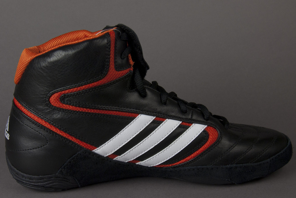 87d96474ae828a adidas Mat Wizard IV Black and Orange Wrestling Shoes View…