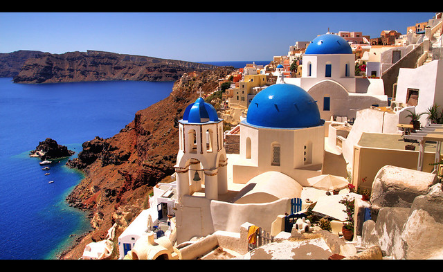 Blue Roof Churches In Santorini Greece Flickr Photo