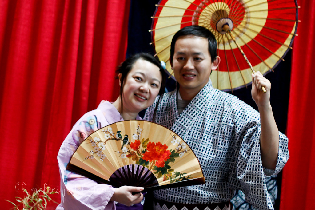 posing in kimonos