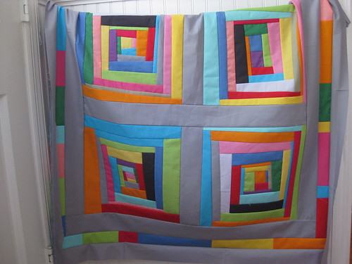 wonky log cabins quilt top 3
