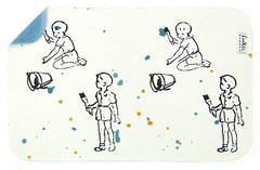 Kevätuutuus! Julia Prusin kiiltokuvapojat ovat villintyneet vallan ja lähteneet omin päin aidanmaalauspuuhiin. Kivoja värejä!</p> <p>Kestävä ja pestävä lattiapyyhin on kotimaista bambujoustofroteeta. Toinen puoli käsinpainettua 'Pikkumaalarit' -kuosia, toinen puoli turkoosi.</p> <p>Huomaathan että väriroiskeet ovat yksilölliset jokaisessa tuotteessa!</p> <p>Koko n. 25 cm x 38 cm.