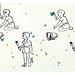 Kevätuutuus! Julia Prusin kiiltokuvapojat ovat villintyneet vallan ja lähteneet omin päin aidanmaalauspuuhiin. Kivoja värejä!</p><p>Kestävä ja pestävä lattiapyyhin on kotimaista bambujoustofroteeta. Toinen puoli käsinpainettua 'Pikkumaalarit' -kuosia, toinen puoli turkoosi.</p><p>Huomaathan että väriroiskeet ovat yksilölliset jokaisessa tuotteessa!</p><p>Koko n. 25 cm x 38 cm.