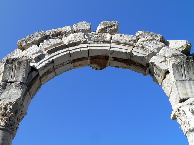 Rounded arch of the Temple of Hadrian, Ephesus, Turkey