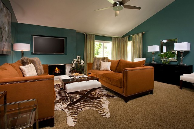 Fountain valley living room after teal and brown living for Brown teal living room ideas