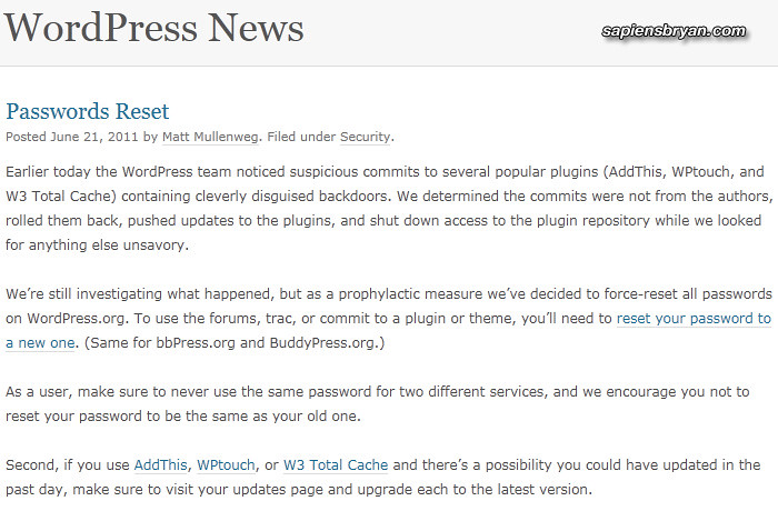 Security Advice From WordPress : Reset Your Password Now!