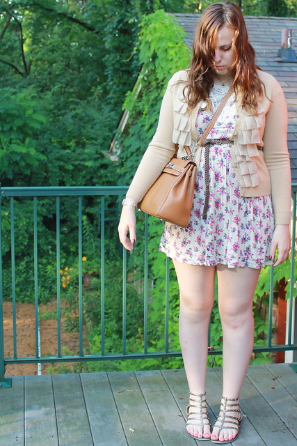 Outfit - floral dress, ruffled cardigan, gladiator sandals, Kelly bag