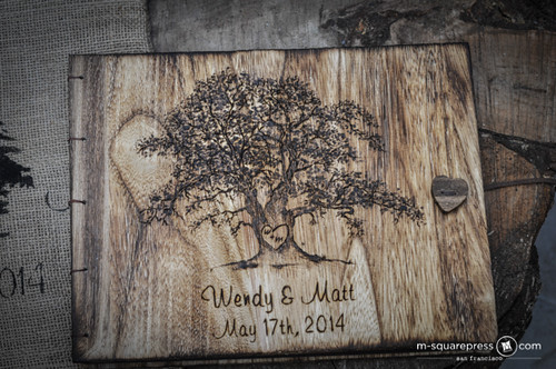 Rustic Oak Tree Photo Wedding Guest Book