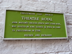 Photo of George III, Theatre Royal, Cheltenham, and John Boles Watson green plaque