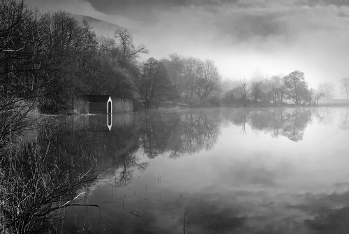 Loch Ard, morning mist mono...