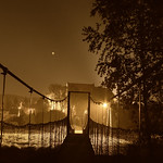 Footbridge at night