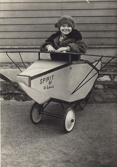 Girl in toy Spirit of St. Louis, 1927