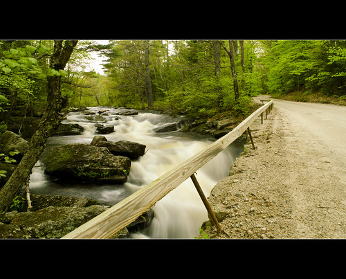 road longexposure trip bridge summer usa white mountain color green art dusty love nature wet water rain architecture clouds river landscape waterfall moss spring sand nikon rocks stream stones may bridges newengland newhampshire rocky nh dirt filter nikkor highwater slippery 1870mm gravel hillsborough stonearchbridge 2011 neutraldensity 3stop d7000 gleasonfalls gleasonfallsbridge