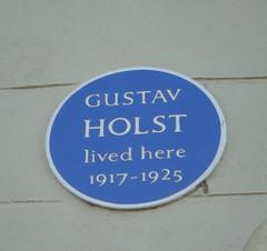 Photo of Gustav Holst blue plaque