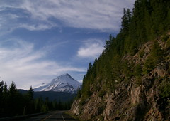 Mount Hood pops out around a curve on the Barlow Road