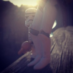 Peeking at you #starwars #stormtrooper #backlight #sunset #stockholm #trooper #teddy #toys