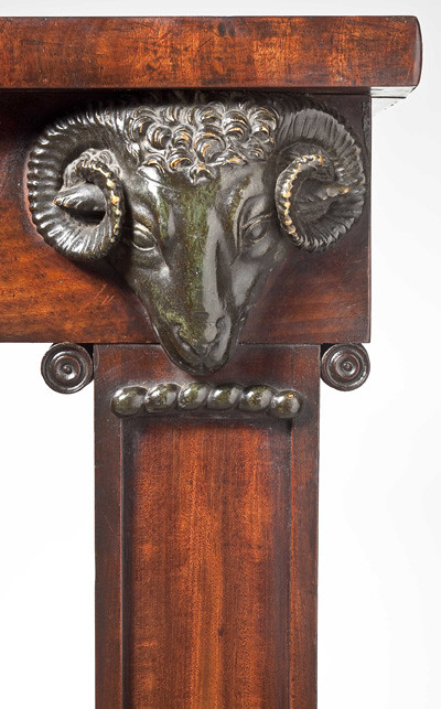 Clinton Howell Antiques:  A very fine pair of regency mahogany console tables (detail)