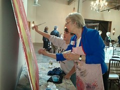 Painting with Sarah Youssefi, a volunteer with ArtWorks