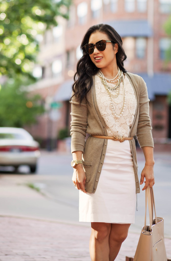 cute & little blog | petite fashion | boyfriend cardigan, lace crochet top, pearl necklace, white pencil skirt | neutral spring outfit
