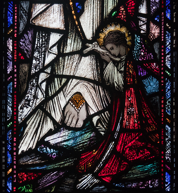 Ballinasloe St. Michael's Church South Aisle, Fourth Window: Saint Bernadette at the foot of Our Lady of Lourdes