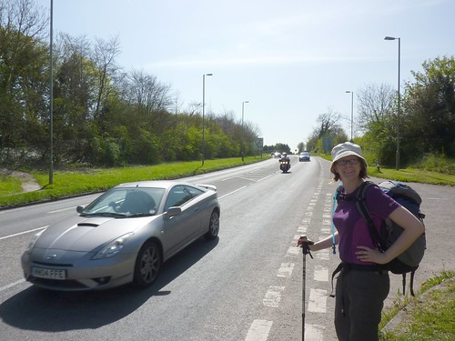 Catherine is amazingly excited to be crossing the A4074