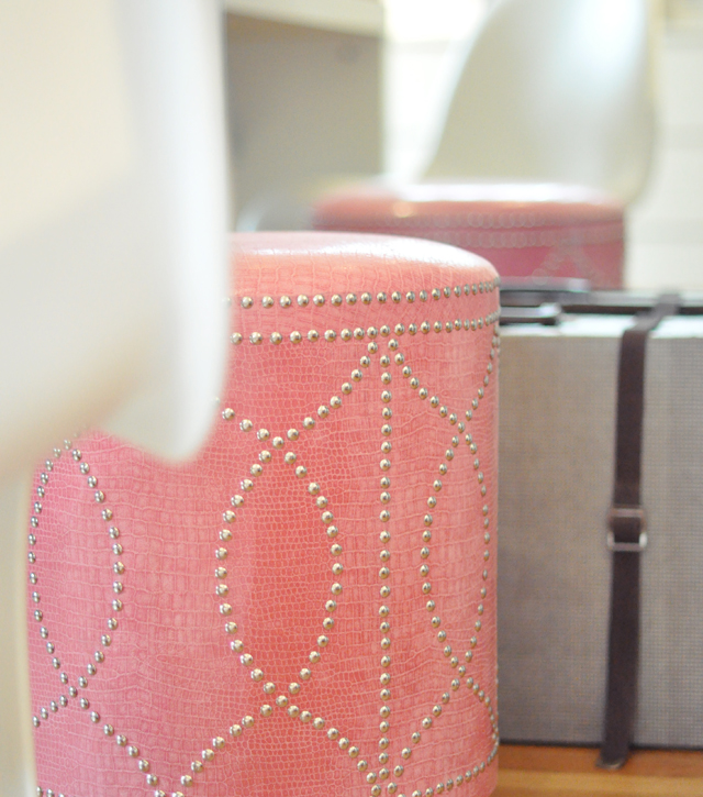 Ottoman In Dressing Room With Upholstery Tacks