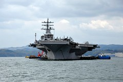 SASEBO, Japan (April 19, 2011) Aircraft carrier USS Ronald Reagan (CVN 76) sits at anchor following arrival for a scheduled port visit. (U.S. Navy photo)