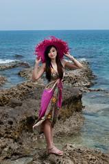 [フリー画像素材] 人物, 女性 - アジア, 人物 - 海, 帽子, 台湾人 ID:201303211400