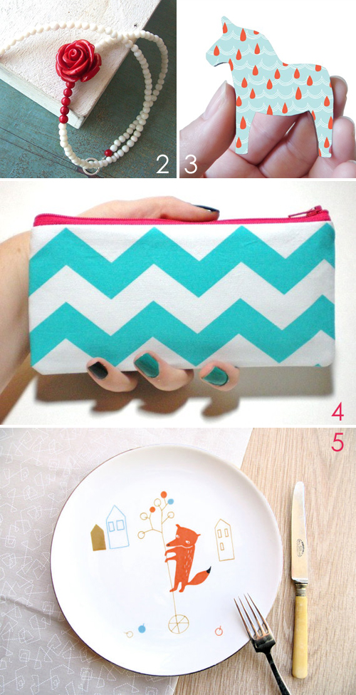 etsy favourites : aqua & red | Emma Lamb