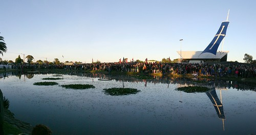 Dawn Panorama - crowds commemorate Eureka Stockade 150th anniversary in 2004