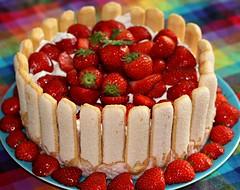 strawberry pie(0.0), plant(0.0), cheesecake(0.0), raspberry(0.0), pavlova(1.0), cake(1.0), berry(1.0), strawberry(1.0), baked goods(1.0), frutti di bosco(1.0), produce(1.0), fruit cake(1.0), fruit(1.0), food(1.0), dish(1.0), torte(1.0),