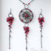 Medieval medallion - Silver,rubies and sapphires Set of medallion necklace and earrings by VaniniDesign