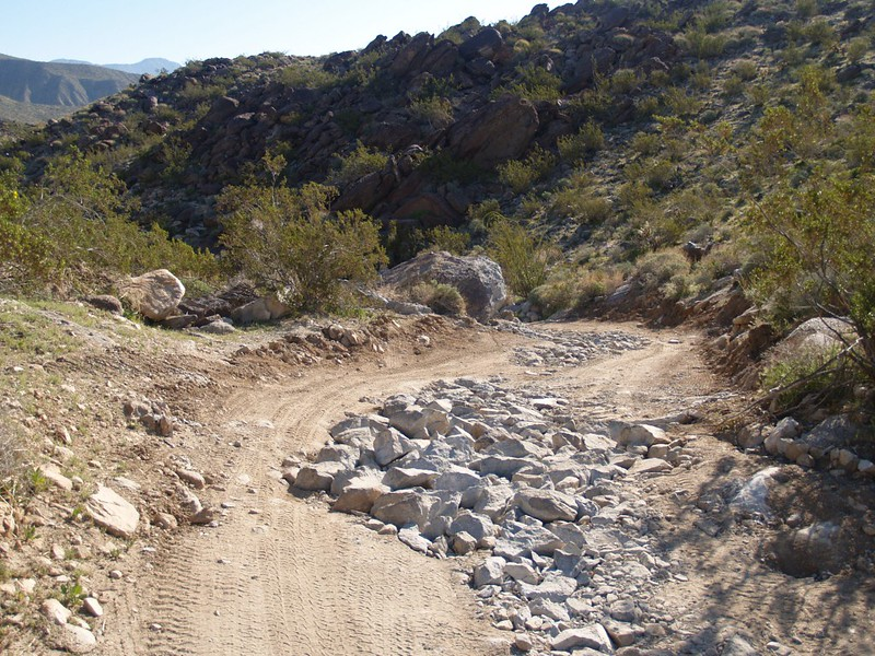 The rocky road leading out of the Collins Valley, newly repaired