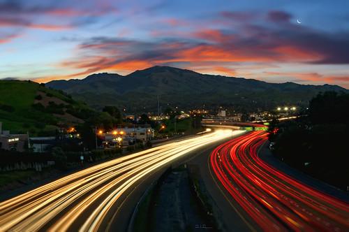 california street city morning sky clouds sunrise lights traffic overpass freeway commute walnutcreek streaks mountdiablo ygnaciovalleylighttrails