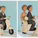 Vespa Wedding Cake Topper