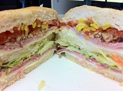 breakfast sandwich(0.0), delicatessen(0.0), blt(1.0), sandwich(1.0), submarine sandwich(1.0), ham and cheese sandwich(1.0), muffuletta(1.0), ciabatta(1.0), meat(1.0), food(1.0), dish(1.0), cuisine(1.0),