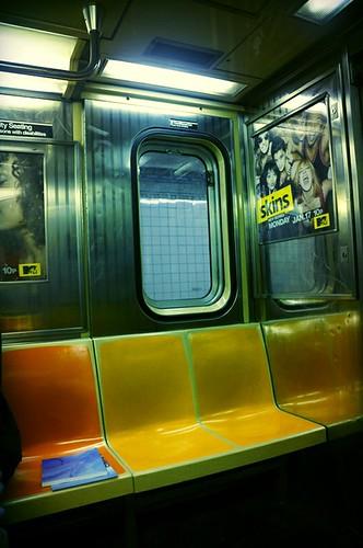 Inside subway train, NYC