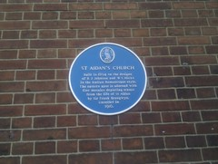 Photo of R. J. Johnson, W. S. Hicks, and Frank Brangwyn blue plaque