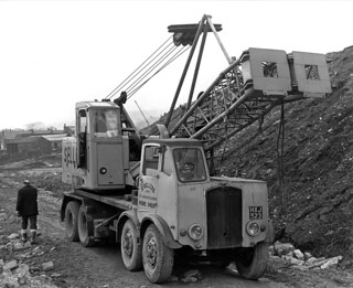 Thornycroft 8-wheeler and Coles Crane, Sellers of Leeds, Keighley By-pass construction early 1960s
