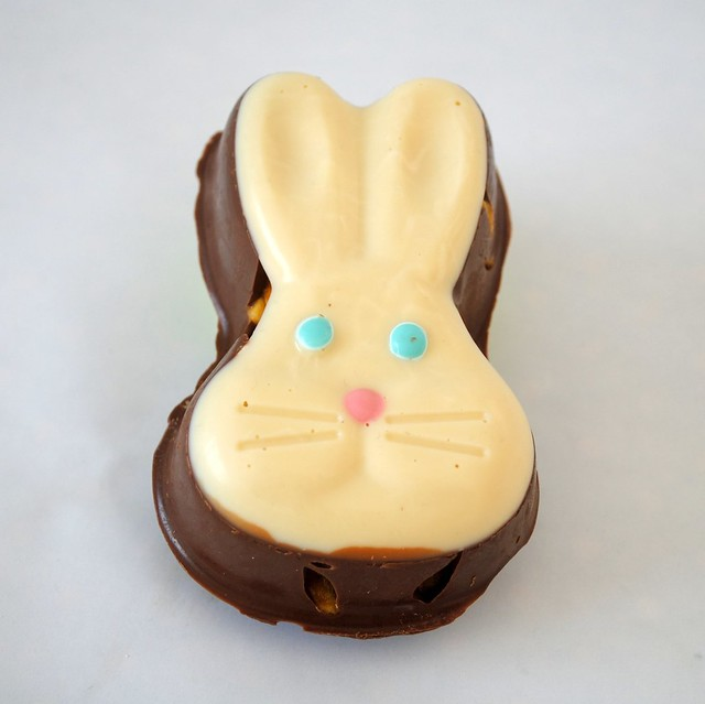Hand-made honeycomb chocolate bunny head