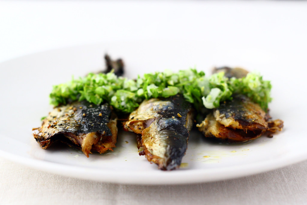 Roasted Sardines with Green Garlic Gremolata