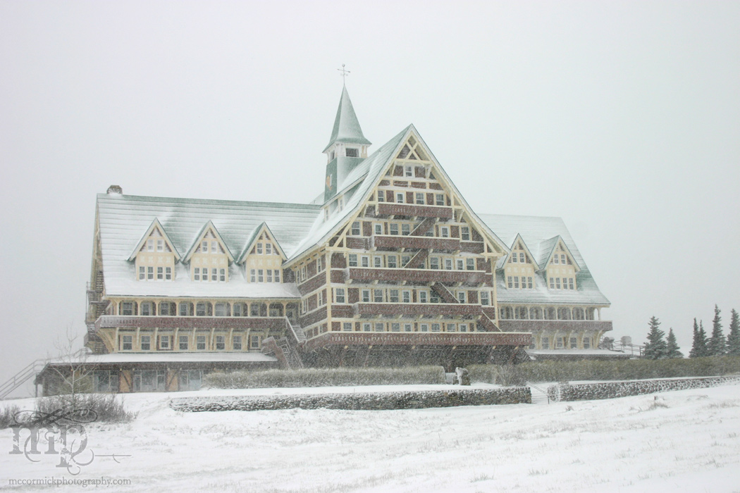 Prince of Wales Hotel during a snow storm