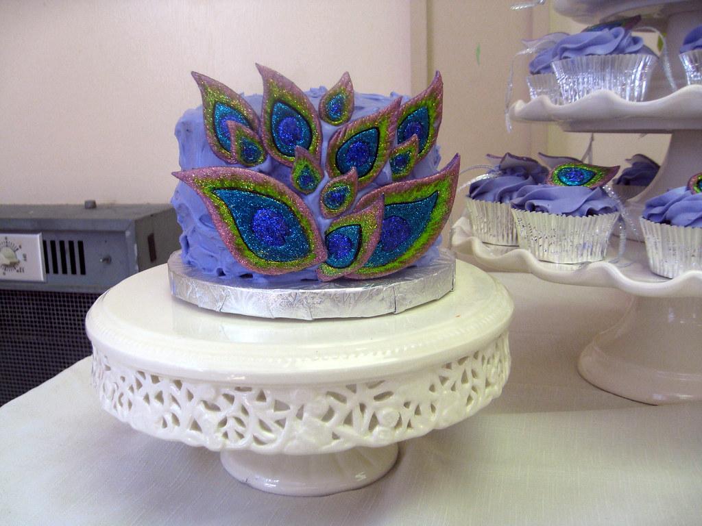 Peacock Themed Bridal Shower Cake