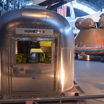 "Steven F. Udvar-Hazy Center: Space exhibit, Mobile Quarantine Facility decontamination from the Apollo missions (end view, with ""AIRSTREAM"" and ""HORNET + 3"" logos)"