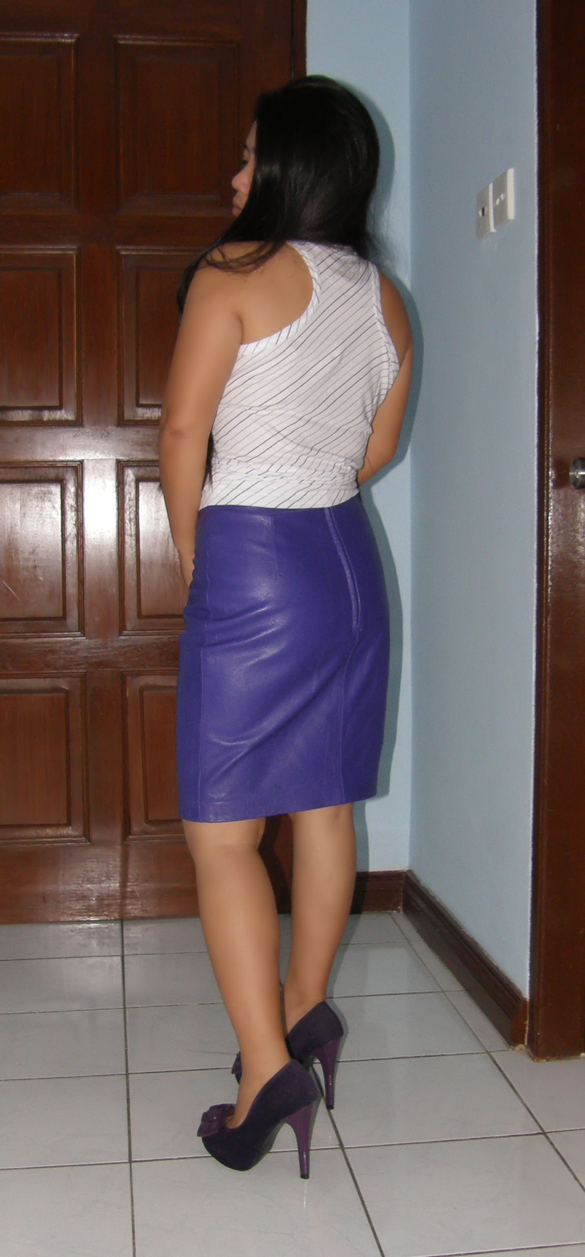 leather skirt and heels flickr photo