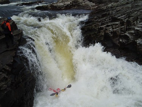 Greg taking on the main drop of Eas a' Chathaidh Falls