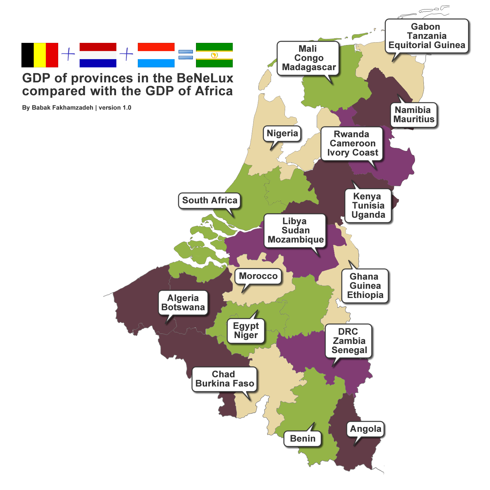 Comparing the GDP of the BeNeLux with that of Africa