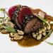 Seared and glazed venison with smoke4 black pepper gastrique, rosemary spatzle, glazed beets | Credit: John Watson