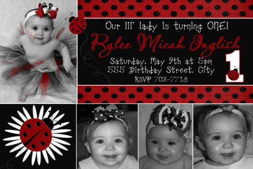 SHARE YOUR BIRTHDAY IDEAS pictures Page 12 BabyCenter – Ladybug Photo Invitations 1st Birthday